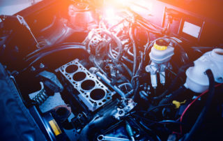 Under the hood during an engine auto repair